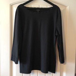 Talbots XL 3/4 tee shirt w detail